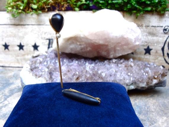 Victorian Jet Seed Pearl 14k Stick Pin & Victorian Jet Collar Brooch / Pin