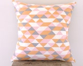 Cushion Cover Pastel Geometric Triangle Print Organic Cotton - NeonVintageDesign