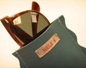 Nele K leather sun/eye glasses case scallop blue green