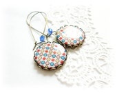 Colorful polka dots earrings, polymer clay earrings, Yellow, Blue, Pink and Red earrings