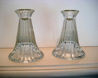 Vintage Glass Candle holders, wedding display, classic decor, fluted glass, set of 2 - 3.5 x 5 inches
