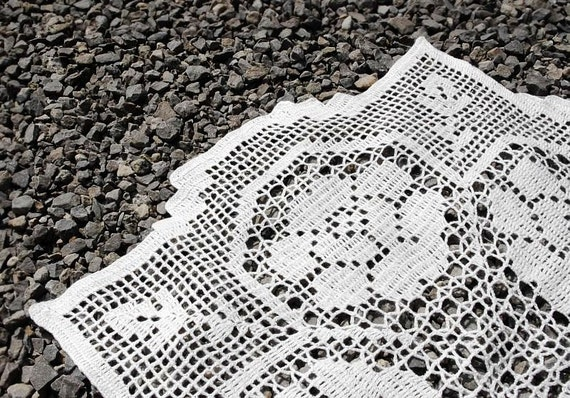 Crochet doily white square handmade linen lace doily with roses crochet doilies