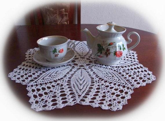 BLACK FRIDAY SALE 20% off: Crochet flower doily white handmade linen crochet doily lace doily crochet doilies