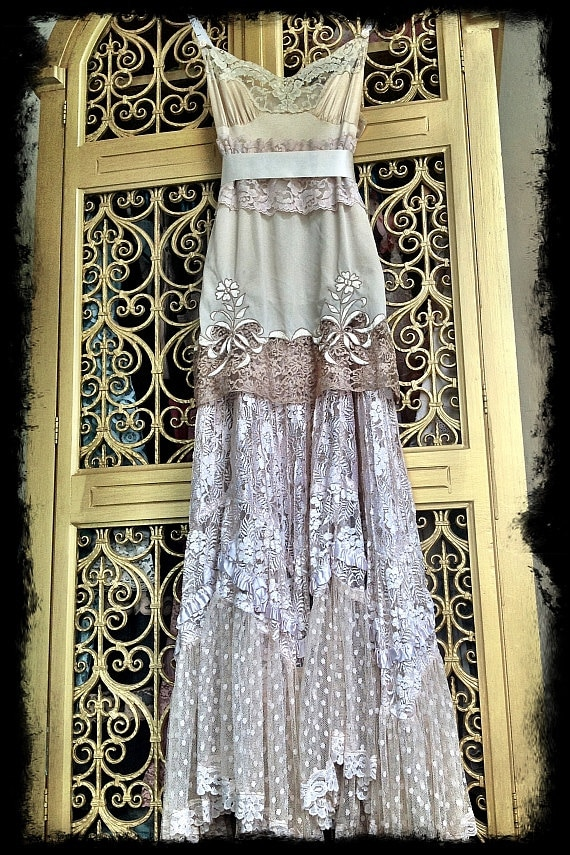 Boho Lace Wedding Dress Etsy : Ecru ivory cream lace boho maxi wedding party dress mermaid miss k