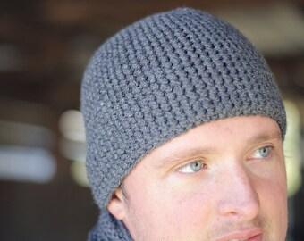 Mens Gray Beanie, Crochet Mens Hat, Gray Hipster Beanie, Guys Gift, Mens Gift under 30, Fitted Mens Winter Hat, Mens Toboggan, Skull Cap