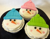 "24 Snow Buddy Cupcake Toppers and 10"" cake topper"