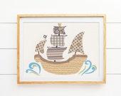 "Kids Wall Art, Nursery Decor, Kids Art Print, Pirate Decor Sea Life Theme, 5x7"" Print, Pirate Ship Ahead"