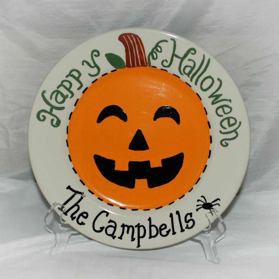 Hand Painted Halloween Ceramic Jack O Lantern Plate