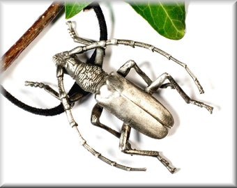 """Pendant """"Long horned beetle, big"""" made of 925 silver"""