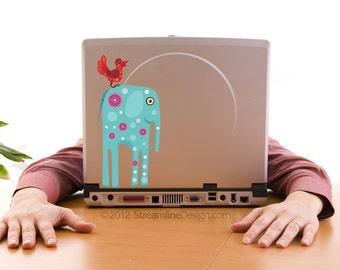 Big Blue Elephant with Bird Vinyl Laptop or Automotive Art FREE SHIPPING, whimsical elephant blue elephant sticker laptop sticker