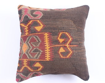 "Modern Bohemian Home Decor,Turkish Kilim Pillow Cover 16"" X 16"", Tribal Pillow, Kilim Ebroidery Pillow, Vintage Kilim Pillow Case,"
