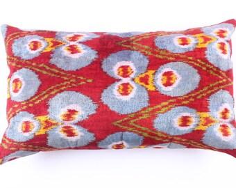 Buglem /Handmade ikat silk velvet Pillow Cover, red - 24,40x15,40 inch free shipment