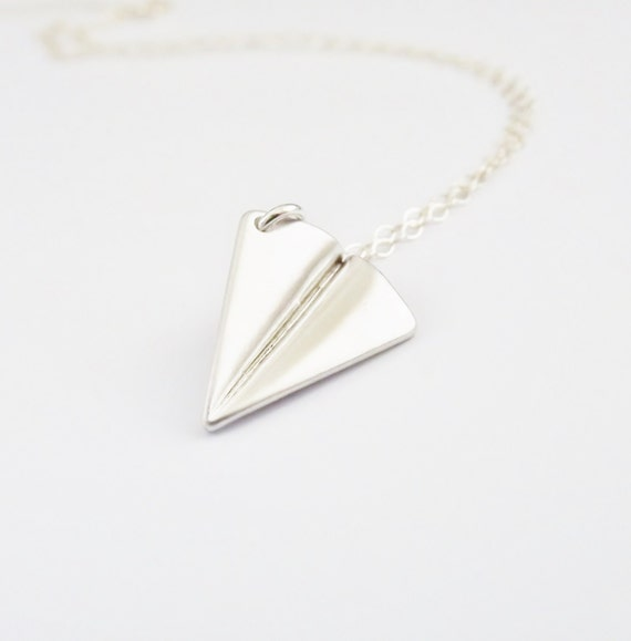 Silver Paper Airplane Necklace Sterling Silver Chain