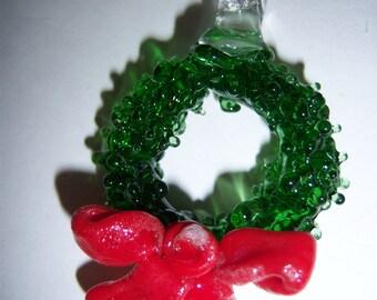 Glass Christmas Wreath Ornament