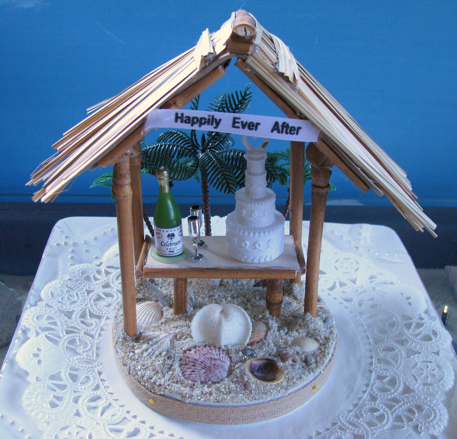 Tiki Hut Wedding Cake Topper Beach Wedding Cake Topper