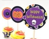 12 Halloween Cupcake Sticks & Wrappers