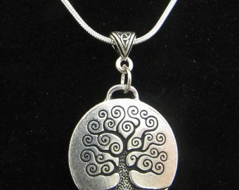 Silver Celtic/Irish Large Tree of Life Necklace