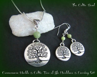 Connemara Marble and Silver Celtic Tree of Life Necklace and Earring Set