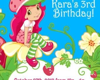 Strawberry Shortcake Invitation Digital File 4X6 or 5X7
