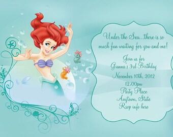 Disney The Little Mermaid Invitation- Digital file Print as many as you need