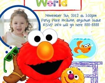 Elmo's World Sesame Street  Invitation Digital File 4X6 or 5X7