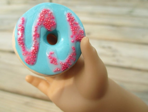 Blue and pink swirl donut for 18-inch dolls