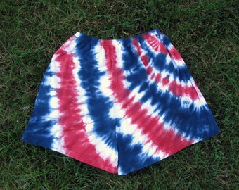 Tie-Dye Shorts in Red, White, and Blue