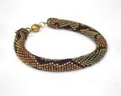 "Bead Crochet Bracelet ""Small python""  Beaded Bracelet Beadwork Bracelet Patina & bronze snake Minimalist Unisex Handmade Jewelry Super Gift"