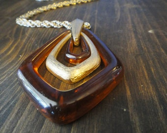 Vintage Lucite and Gold Pendant Necklace by Avon