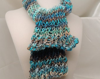 Calico Blue Loom Knit Tube Scarf