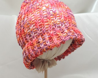 Colorful Loom Knit Merino Hat with Brim
