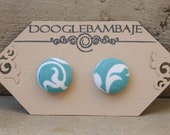Turquoise Damask - Turquoise Aqua Teal and White Floral Victorian Damask Fabric Button Stud Post Earrings - Wedding
