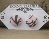 Flamingo n' Ash Design - Flamingo Pink and Charcoal Gray Floral Victorian Damask Fabric Button Stud Post Earrings - Wedding - Classy Line