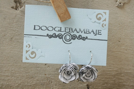 Black Houndstooth Rose Design- Black and White Houndstooth Fabric Rose Flower French Circle arc Close Loop Hook Dangle Earrings Wedding