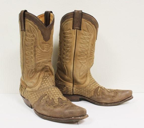 Sancho vintage western cowboy boots men's brown Spain size 8.5