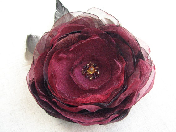 Dark red flower brooch Flower hair clip Flower for sash Wedding accessory