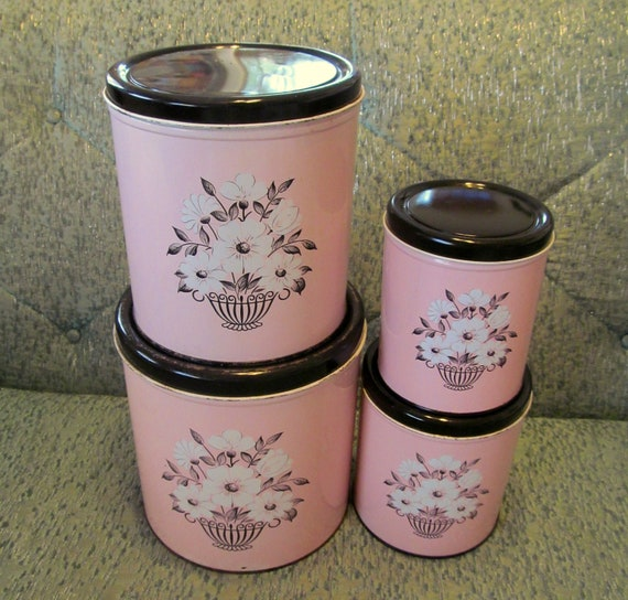 pink kitchen canisters vintage 50 s pink canisters vintage pink by beatniksvintage 2202