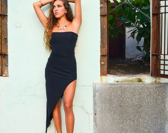 90s Vintage Asymmetrical Little Black Dress