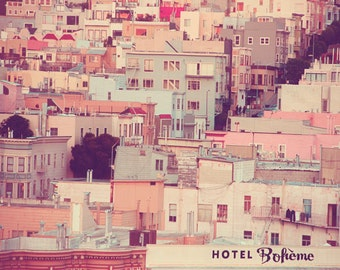 San Francisco Photography, Pastel Houses, Shabby Chic, Cityscape, Blue Gray, Taupe, Peach, Vintage Tones, Pastel Houses, Dreamy, Urban, fPOE