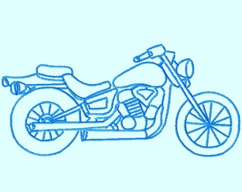 Motorcycle Sketch Embroidery Designs 3 sizes  INSTANT DOWNLOAD