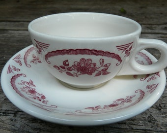 Homer Laughlin China, American Rose,  restaurant ware, vintage, cup and saucer, rose, pink valentine