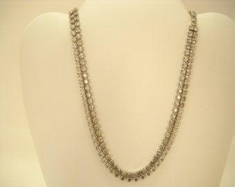 """Vintage 1950s 14"""" prong set rhinestone choker necklace-(112)"""