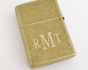 Weathered Bronze Zippo Lighter- Monogrammed or Engraved