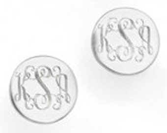 Monogrammed Earrings in Sterling Silver for Bridesmaids, Women, Present