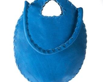 blue cobalt leather purse bag , clutch, handbag, evening bag, tote bag
