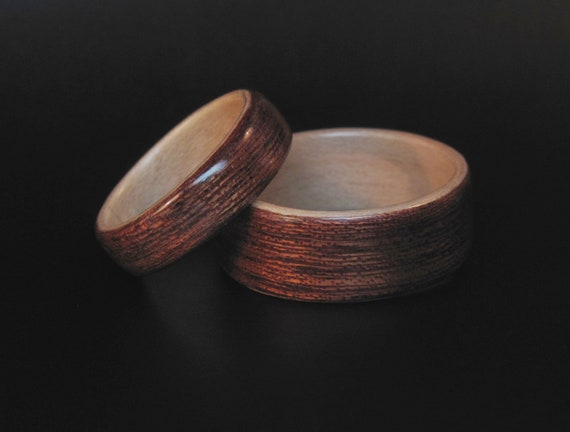 Handcrafted Wood Wedding Band Set Sapele Wood with Maple Interior Anniversary Ring