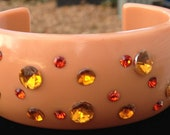 Vintage Lucite Light Orange with Orange and Yellow Rhinestones by CJW