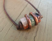 VIRILITY Necklace for Him - Zen Jewelry, Tribal Necklace, Semi Precious, Powerful Stones, Mens Leather Necklace, Energy