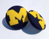 Fabric Button Earring- Michigan Wolverines Football..