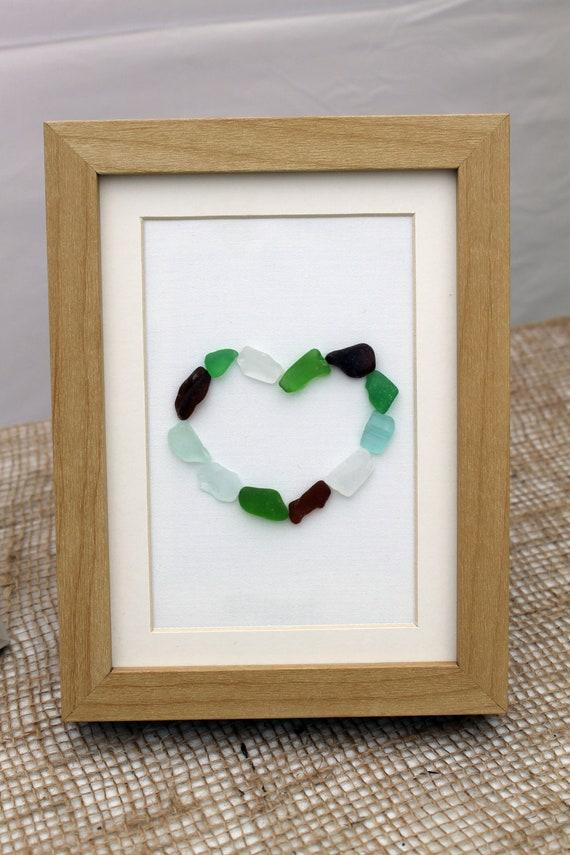 Sea Glass Art, Heart in Brown Frame